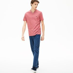 Men's Lacoste V Neck Tee Shirt Cotton
